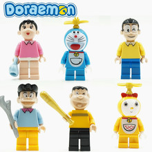 6pcs Doraemon Cat Japan Cartoon Movie nobi nobita Assemble Building Doll 3D Model Minifig Action Figures Bricks Blocks Toy Gifts(China)