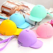 1PC 2016 New Bag Girls Cute Hat Shape Coin Purse Mini Silicone Change Wallet Small Zipper Key Bags Jewelry Storage Bags 26.5x9cm