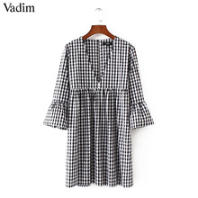 Vadim women sexy V neck plaid dress backless flare sleeve pleated ladies summer casual brand mini dresses vestidos QZ3123