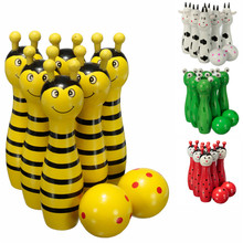 Hot Sale 4 set Lovely Mini Cartoon Wooden Bowling Ball Skittle Game Cute Animal Shape For Kids Children Toys  4 Type 11.5x2.8cm