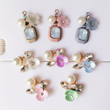 10pcs/lot DIY Alloy Pearl bling Flower Hollow out Cell phone case Decoration Charms for phone case(China)