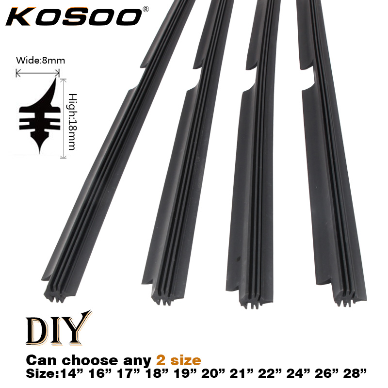 "KOSOO 2PCS Car Vehicle Insert Natural Rubber For Valeo Type Beam Wiper Blade Only (Refill) 8mm 14""16""17""18""19""20""21""22""24""26""28""(China)"