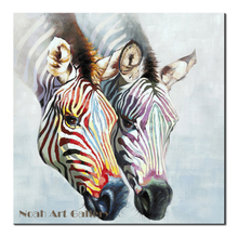Two Colorful Zebras Oil Painting Contemporary Abstract Art Animal Painting Highly Skilled Hand Painted Zebra Canvas Paintings(China)