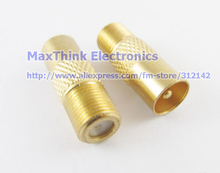 Golden F Female to TV PAL Male Plug Straight Coaxial RF TV Connector Adapter,8pcs , Free shipping(China)