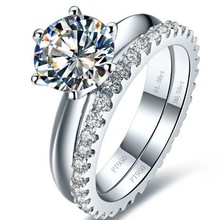 Solid 14K White Gold Wedding Sets 1.55Ct Diamond Wedding Rings Set Ring Bridal Sets 14k Gold rings for Women Jewelry