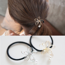 Fasion Lady Girl Pearl Wire Flower Ponytail Holder Scrunchy Hair Rope Elastic Rubber Band Womens Headwear Diamond Hair Accessory