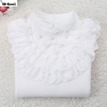 Autumn Winter 2017 Kids Clothes Children Bottoming Shirt Fashion White Long-sleeved Funny T-shirt Student Girls Lace Tops