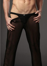 Mans breathable Sexy Smooth Transparent Mesh Gauze Pants White Balck Mesh Comfortable Men Underwear Long Trousers