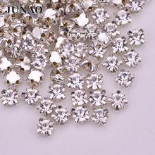 JUNAO SS12 Sewing Clear Crystals Claw Rhinestones Flatback Glass Stones Sew On Strass Crystal For Clothes Dress Crafts 1440pcs