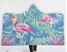 3D Flamingo Tropical Plants Printed Pink Hooded Blanket for Adults Kids Pink Fleece Woman Throw Blankets Microfiber on The Sofa(China)