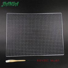 JIANDA (Send a Gift)Metal Squares Wave Holes Grill Barbecue Wire Mesh BBQ Tool Nonstick Stainless Steel Grilling Wire Mesh(China)
