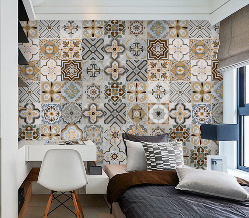 Custom wallpaper mural 3D,Retro colored brick mosaic,retro wallpaper for bedroom living room Hotel backdrop waterproof wallpaper<br>