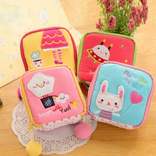 New Girl Women Napkins Organizer Storage Hold Sanitary Napkin Bag Case Cartoon Easy Small Articles Zipper Catton Gather Pouch(China)
