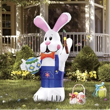 300cm/10ft Inflatable Easter Bunny with Brush for Easter Yard Decoration Sale