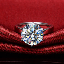 Amazing Design Big Stone Ring 6Carat Brilliant Synthetic Diamonds Wemen Ring Solid Sterling Silver Female Wedding Jewelry(China)