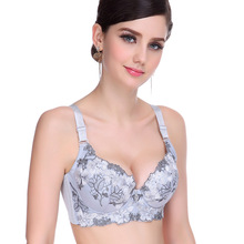 Plus size Bra 34 36 38C D Cup women's bra sexy intimate cotton lace Embroidered floral Adjustable push up bra Wholesale Retail(China)