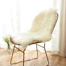 Carvapet Luxury Soft Faux Sheepskin Chair Cover Seat Pad Plush Fur Area Rugs for Bedroom, 2ft x 3ft, White(China)