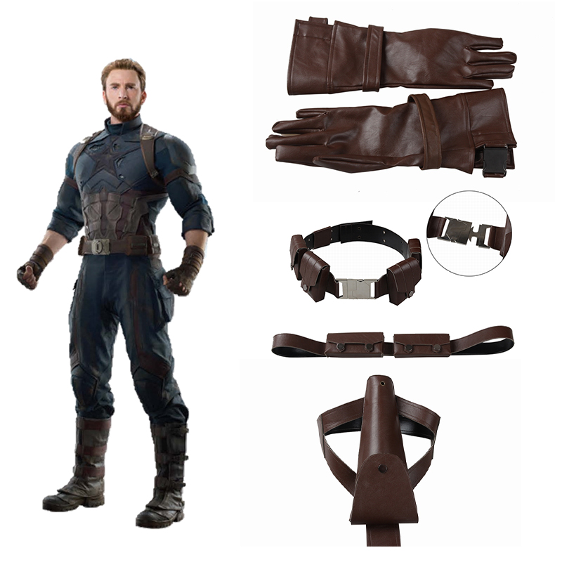 Manles Captain America The First Avenger Cosplay Acceessories Captain America Belt Gloves Chest girdle Holster Halloween Costume