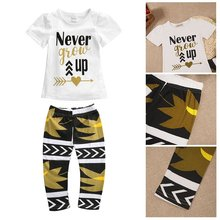Shenzhen Hot Fashion Cotton Blend T-shirt + Pants For Little Girls With Factory Price(China)