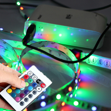 50CM 1M 2M 3m 4m 5m USB LED Strip Light 5V 3528 SMD non Waterproof RGB Flexible TV Background Lighting Strip +Remote Controller