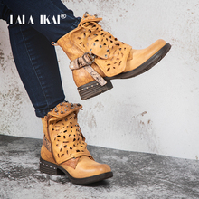 LALA IKAI Kobiety PU Leather Low Heel Botki String Paciorek Hollow Klamra Pluszowe Zipper Wedge Buty Zimowe Buty 100A2164 -49(China)