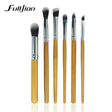 Fulljion Pro 6pcs Bamboo Handle Eye Brushes Makeup Flat Brushes Natural Cosmetics Makeup Brush Set Hairbrush Multi-function