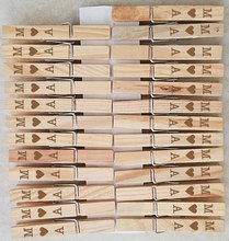 50 Custom Engraved Clothespin Wedding Favors Place Card Holders, Baby Shower, Birthday Party(China)