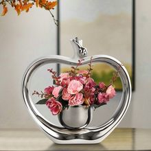 Electroplating Ceramic Vase with Flowers Ornaments Crafts Artwork Den Table Decorations Unique Gift for Valentine(China)