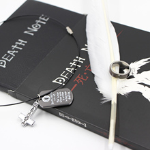Cosplay Ryuk Cover Death Note Set Notebook & Feather Pen & Necklace& Ring Stationery Set Death Note Writing Journal Note Book(China)