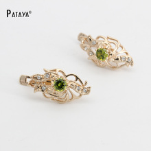 PATAYA Olive Green Triangle Long Earrings 585 Rose Gold Natural Cubic Zirconia Pendientes Bridal Vintage Irregularity Earrings(China)