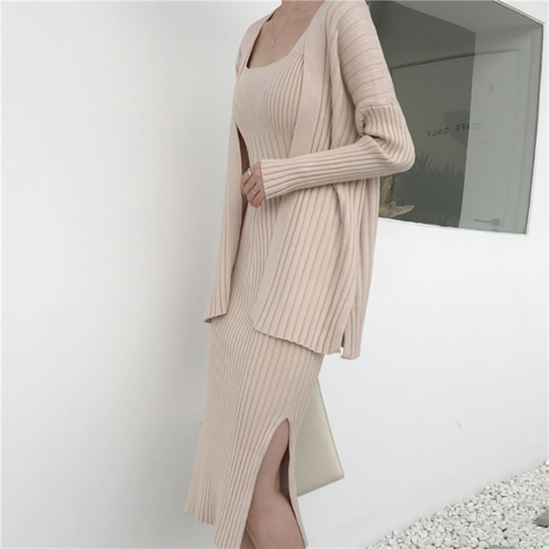 High Quality Women Peals Sweater Tops Dress Suits Long Sleeve Off Shoulder Pullovers Elegant Woman Knitted Jumpers Skirts Set