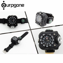 Ourpgone Dropshipping 1* Hiking Outdoor Tools Lamp Military LED Sport Wrist Watch Flashlight Compass Light Free shipping!