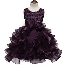 Princess Girl's Purple Gown Dress Children's Princess Costume Girls Tulle Dress Kids Ceremonies Party Dresses For Girls Weddings(China)