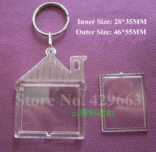Free shipping 2pcs/lot House Transparent Blank Insert Photo Picture Frame Key Ring Split keychain