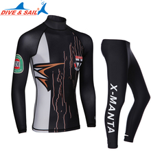 Dive&Sail Men Lycra Rash Guard UV Swimming long sleeve Swim wetsuit Two Piece with skin diving pant for kitesurf surf windsurf(China)