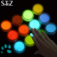 STZ 1g New Ultrafine Fluorescent Effect 12 Different Colors Nail Art Glitter Pigment 3D Glow Powder Dust Dcorations YS01-12
