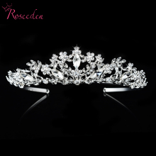 Vintage Hollow Crystal Tiara Bridal Hair Accessories For Wedding Quinceanera Tiaras And Crowns Pageant Rhinestone Crown RE109(China)