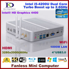 2017 New Intel i5-4200U Mini PC, Fanless HTPC with 2GB RAM+64GB SSD, 1920*1080, 4*USB 3.0,WiFi,HDMI, Metal Case, 3 Year Warranty