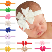 Cute simple hair band rhinestone big bow elastic ribbon headband Hair Accessories