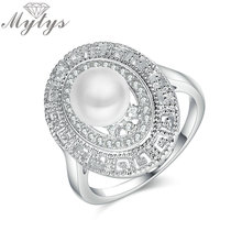 Mytys Wholesale Jewelry Pearl Ring for Women Factory Direct Sale Simulate Pearl High Quality Crystal Pearl Oval Ring R1900(China)