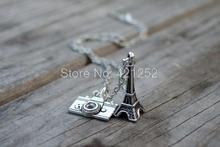 12pcs/lot Paris Inspired Charm Necklace  Eiffel Tower  Camera Travel Christmas Gift Ideas