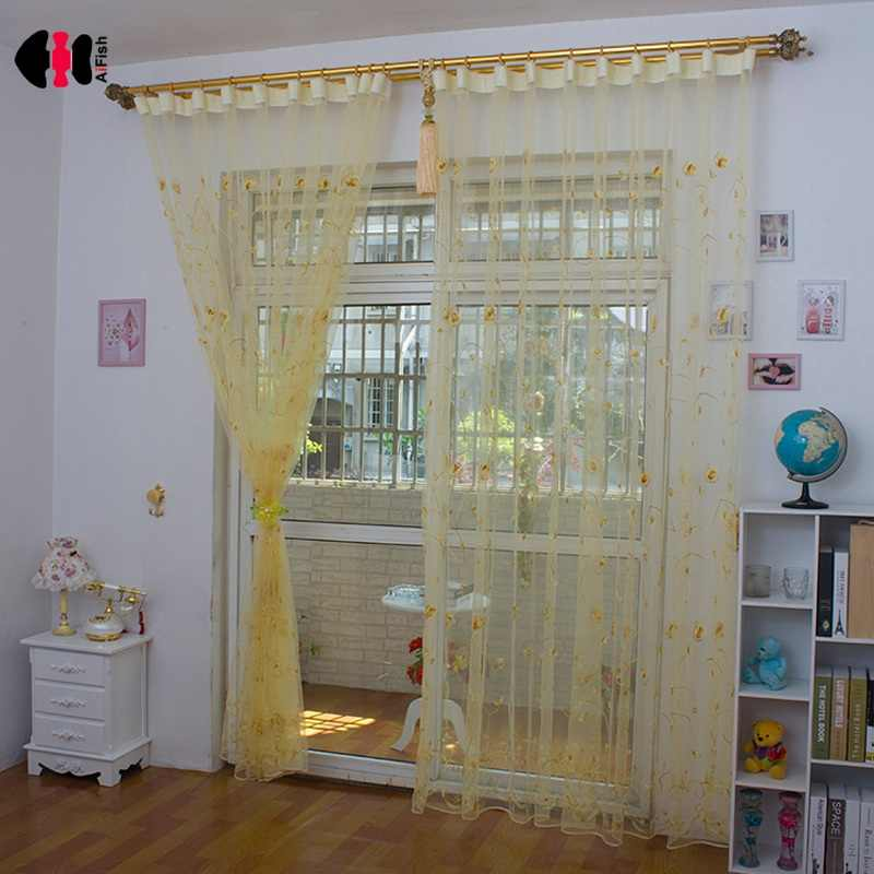 Modern Rose Embroidered Blinds Pink Purple Yellow Burgundy Bedroom Wedding Room Living Room Window Drapes Curtains Nets WP256C