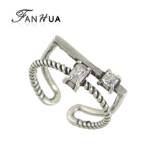 FANHUA New Punk Ring Antique Silver Color Geometric Pattern Black White Rhinestone Geometric Cuff Rings for Women