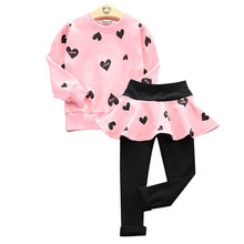Girls Kids Clothes Autumn Children Clothing 2 3 4 5 6 7 Years high quality Long Sleeve Girls Clothing Sets Sport Suit Costume(China)