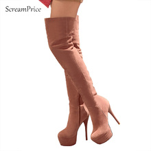 Winter Sexy High Heel Faux Suede Female Over the Knee Boots Platform Zip Women Long Boots Size 34-43