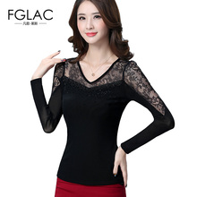Buy FGLAC Women blouses shirts Fashion Casual long sleeved Hollow lace shirt Elegant Slim women tops plus size women clothing for $15.71 in AliExpress store