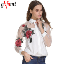Buy Gkfnmt Chemise Femme Women White Blusas Feminina Organza Flower Embroidery Mesh Long Sleeve Shirt Blouse Clothes Tops Plus Size for $11.70 in AliExpress store