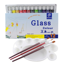 Glass Paint Color Acrylic Paint Hand Painted Pigments 12 Colors 12ML Color Set(China)