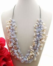 Stunning! 4Strands Pearl&Blue Chalcedony Necklace
