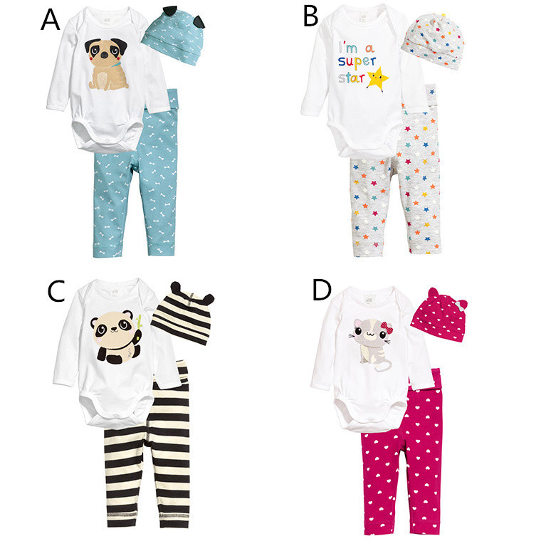 animal printed baby clothing set with free hat romper+ panst baby boys and girls clothes<br><br>Aliexpress